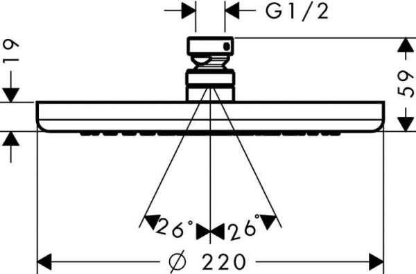 Wymiary techniczne deszczownicy Hansgrohe Croma 220 26464000-image_Hansgrohe_26464000_5