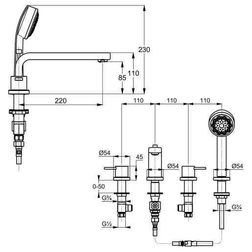 Wymiary 4 otworowej baterii wannowej Kludi Zenta 384240575-image_Kludi_384240575_3