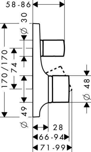 Wymiary techniczne elementu zewnętrznego baterii wannowej podtynkowej Hansgrohe Axor Massaud 18455000-image_Hansgrohe_18455000_3