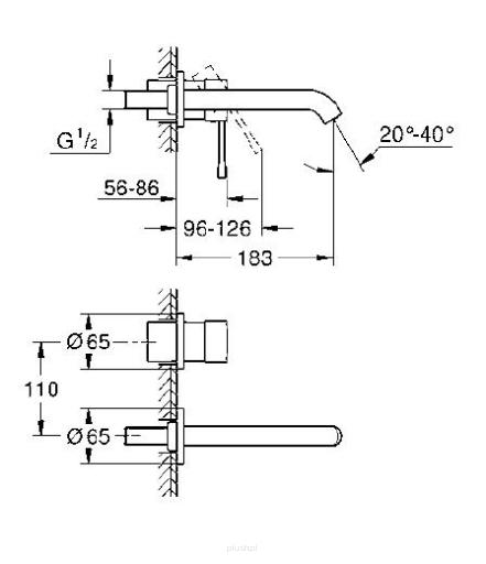 Rysunek techniczny baterii umywalkowej Grohe Essence 19408GL1-image_Grohe_19408GL1_3