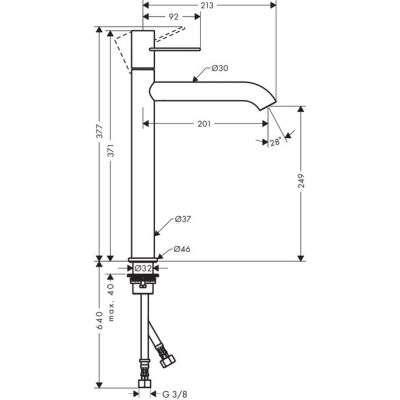 Rysunek techniczny baterii Uno 38034000-image_Hansgrohe_38034000_2