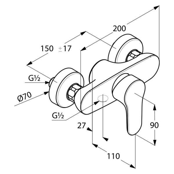 Wymiary techniczne baterii prysznicowej Kludi Objekta 327640575 -image_Kludi_ 327640575_3