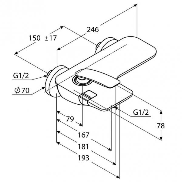 Rysunek techniczny baterii Kludi Balance 524458775-image_Kludi_524458775_2