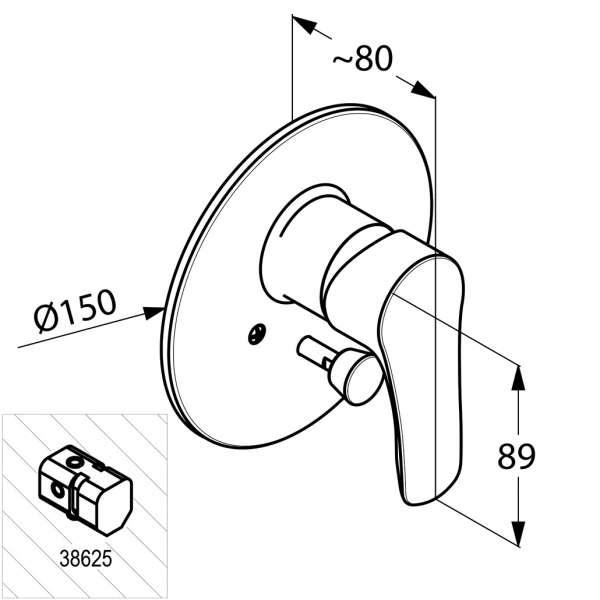 Wymiary techniczne baterii wannowej Kludi Tercio 384190575-image_Kludi_384190575_4