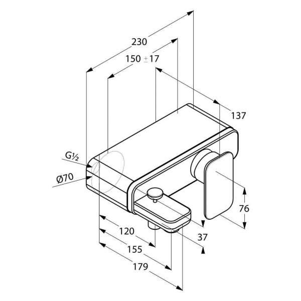 Wymiary techniczne baterii wannowej ściennej Kludi E2 494450575-image_Kludi_494450575_3