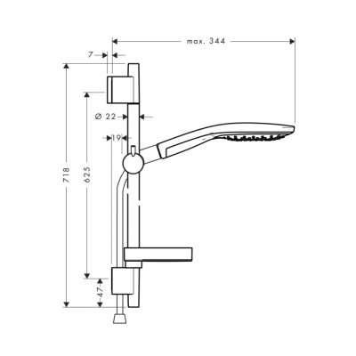 Rysunek techniczny zestawu Hansgrohe 27802400-image_Hansgrohe_27802400_3