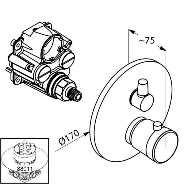 Wymiary termostatycznej baterii wannowej Kludi Balance 528300575-image_Kludi_528300575_3