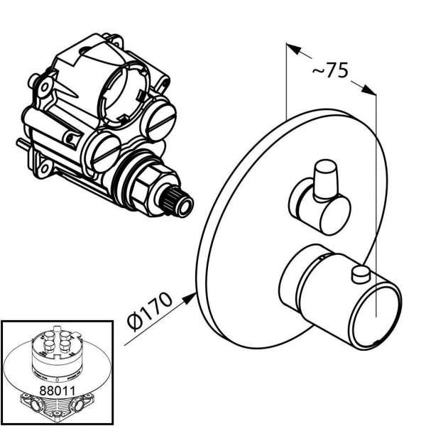 Wymiary techniczne baterii wannowej Kludi O-cean 388300545-image_Kludi_388300545_4