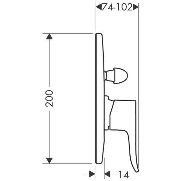 Wymiary techniczne baterii podtynkowej wannowej Hangrohe Metris E2 31484000-image_Hansgrohe_31484000_4