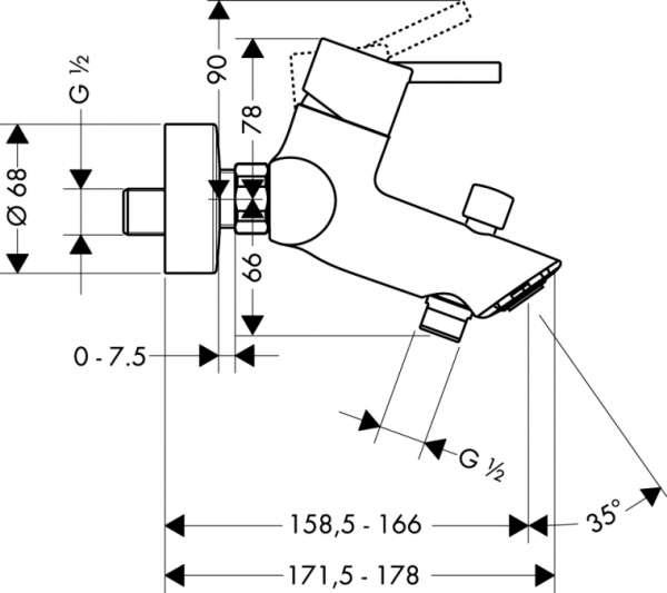 Rysunek techniczny baterii wannowej Hansgrohe Talis S2 32440000-image_Hansgrohe_32440000_4