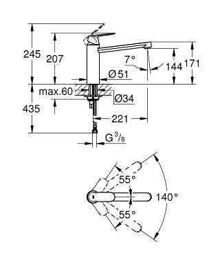 Wymiary techniczne baterii kuchennej Grohe Eurosmart Cosmopolitan 30193DC0-image_Grohe_30193DC0_3
