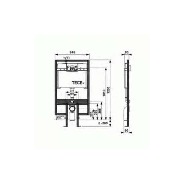 Rysunek techniczny stelaża podtynkowego do wc Tece profil 9.300.065-image_Tece_9.300.065_3
