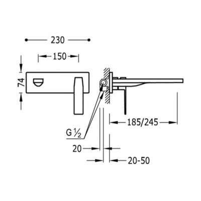 Wymiary techniczne podtynkowej baterii umywalkowej Slim Exclusive-image_Tres baterie do kuchni i łazienki_202.200.03.BM_3