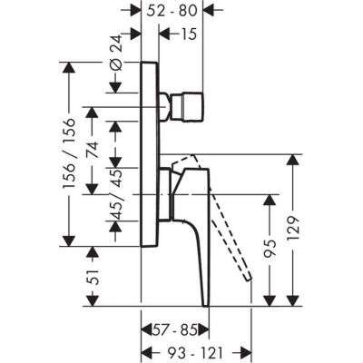 Rysunek techniczny baterii Metropol 32545000-image_Hansgrohe_32545000_4