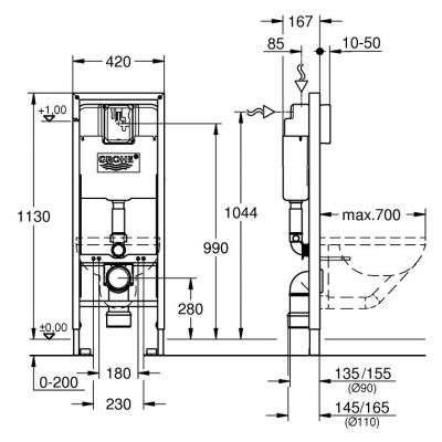 Wymiary techniczne Rapida SL 38675001-image_Grohe_38675001_3