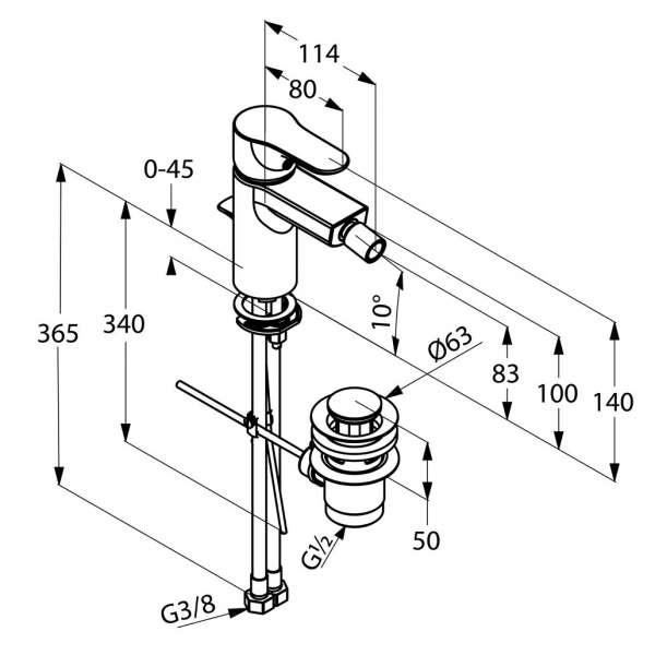Wymiary techniczne baterii bidetowej Kludi Objekta 324160575-image_Kludi_324160575_3