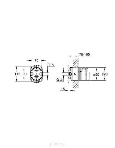 Rysunek techniczny elementu podtynkowego 26483000-image_Grohe_26483000_3