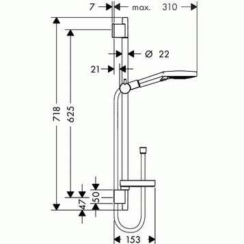 Wymiary techniczne zestawu prysznicowego Hansgrohe Raindance Select S 120 26630400 -image_Hansgrohe_26630400_4