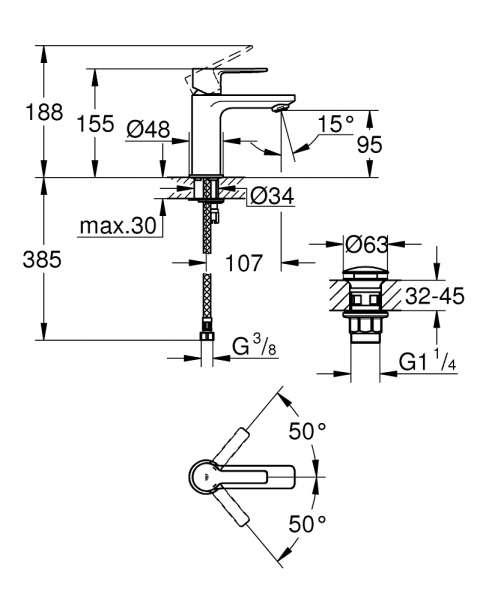 Wymiary techniczne małej baterii umywalkowej Grohe Lineare XS 23791001-image_Grohe_23791001_4