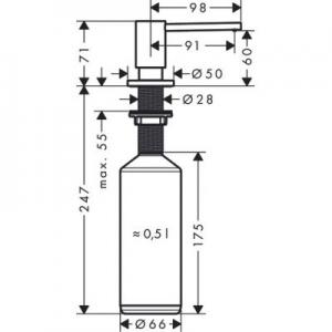 Wymiary techniczne dozownika Hansgrohe A41 40438800-image_Hansgrohe_40438800_2