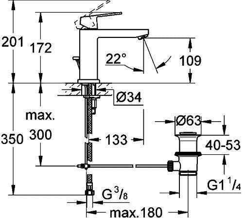 Rysunek techniczny baterii umywalkowej Grohe Eurocube 23445 000-image_Grohe_23445000_4