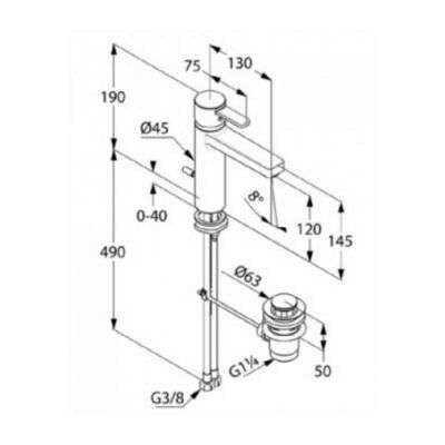 Wymiary techniczne baterii umywalkowej Kludi Zenta 382640575 w wersji chrom z korkiem automatycznym.-image_Kludi_382640575_3