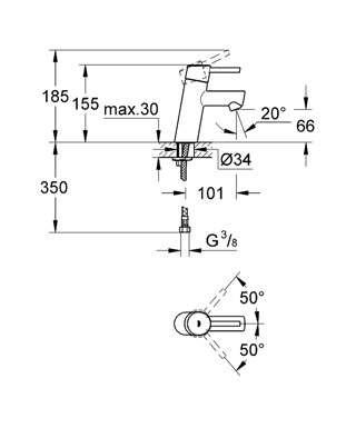 Wymiary techniczne baterii umywalkowej Grohe Concetto 3224010E-image_Grohe_3224010E_4