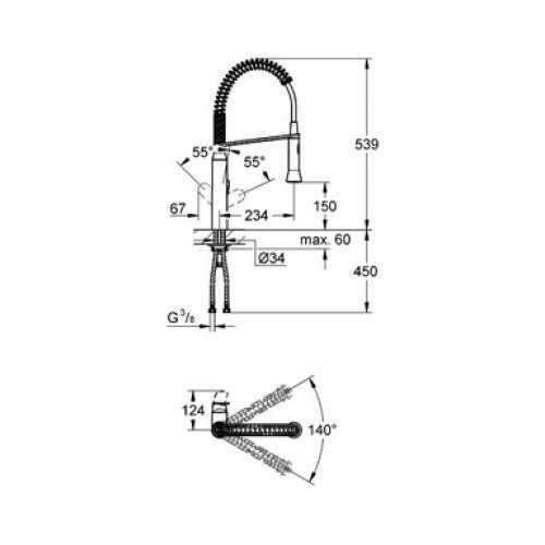 Rysunek techniczny baterii zlewozmywakowej Grohe K7 31379000-image_Grohe_31379000_4