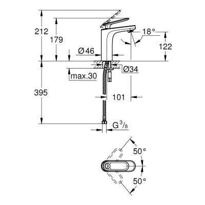 Wymiary techniczne baterii umywalkowej Grohe Veris 23065000-image_Grohe_23065000_3