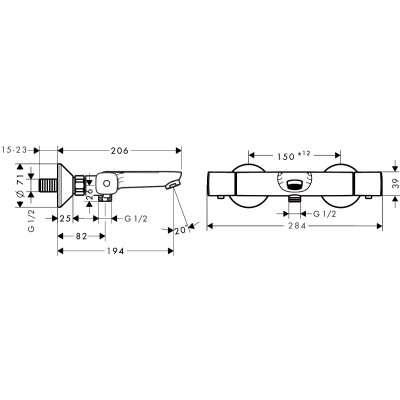 Wymiary termostatycznej baterii wannowej Hansgrohe Ecostat Universal 13 123 000.-image_Hansgrohe_13123000_4