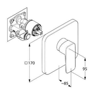 Wymiary techniczne baterii podtynkowej Klud 40 655 05 75-image_Kludi_406550575_3