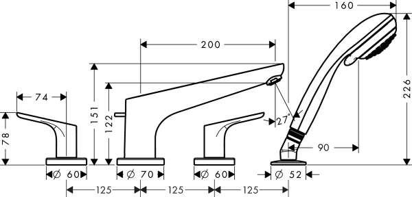 Rysunek techniczny baterii 4-otworowej Hansgrohe Focus 31936000-image_Hansgrohe_31936000_3