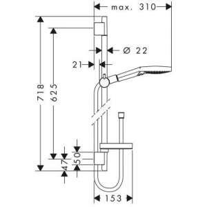 Wymiary techniczne zestawu prysznicowego Hansgrohe 27654000-image_Hansgrohe_27654000_2