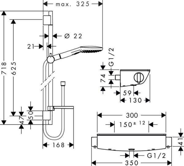 Wymiary techniczne kompletu prysznicowego Hansgrohe Ecostat Select 120 27038000-image_Hansgrohe_27038000_4