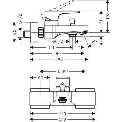 Rysunek techniczny baterii wannowej Metropol 32540000-image_Hansgrohe_32540000_3