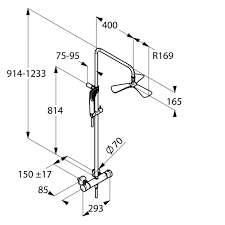 Wymiary techniczne zestawu prysznicowego Kludi Dual Shower 670950500-image_Kludi_6709505-00_3
