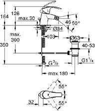 Wymiary techniczne baterii bidetowej Grohe 32929002-image_Grohe_32929002_3