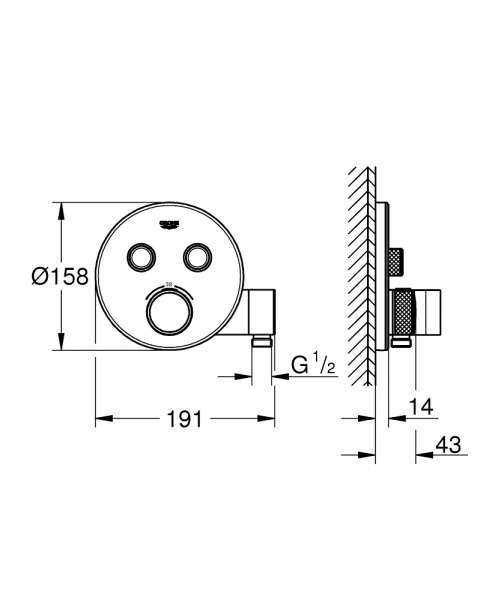 Wymiary techniczne termostatu grohe 29120000-image_Grohe_29120000_3