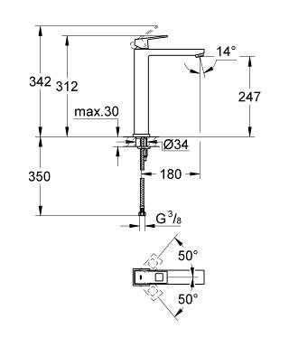 Rysunek techniczny baterii umywalkowej Grohe Eurocube 23406 000-image_Grohe_23406000_5