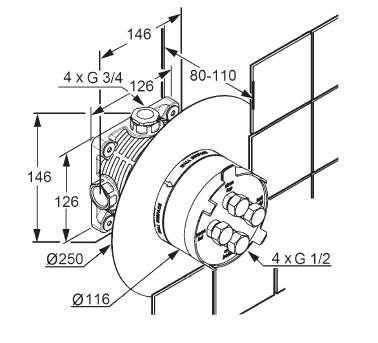 Wymiary techniczne elementu podtynkowego Kludi Flexxbox 88011-image_Kludi_88011_3