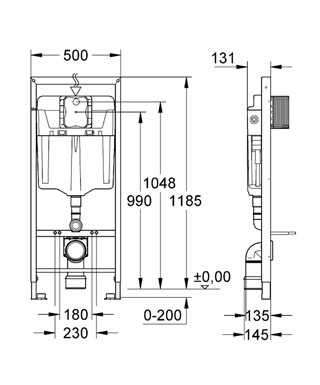 Wymiary techniczne stelaża podtynkowego do wc Grohe Rapid 5w1 38827000 -image_Grohe_38827000_4