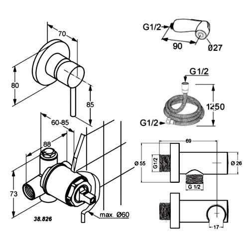 Rysunek techniczny zestawu higieniecznego podtynkowego - komplet Kludi Bozz 389990576-image_Kludi_389990576_4