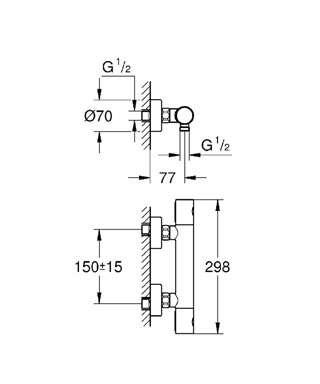 Wymiary techniczne baterii prysznicowej z termostatem Grohtherm 34065002-image_Grohe_34065002_4