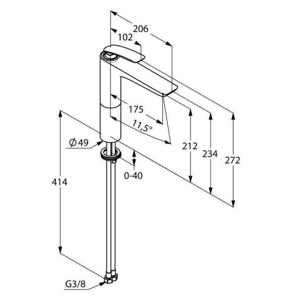 Wymiary techniczne baterii umywalkowej Kludi Balance 522960575-image_Kludi_522960575_3
