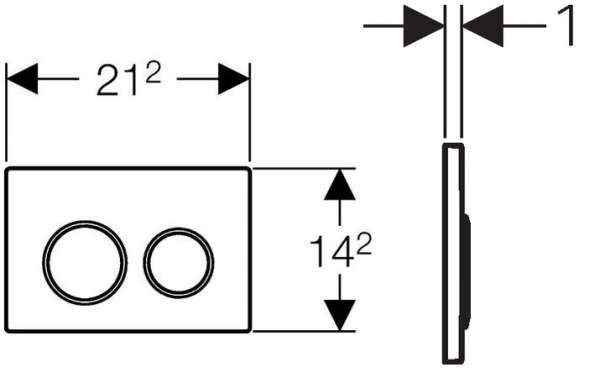 Wymiary techniczne przycisku spłukującego do wc Geberit Omega 20 115.085.KN.1-image_Geberit_115.085.KN.1_4