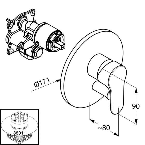 Rysunek techniczny podtynkowej baterii wannowo prysznicowej Objekta 326500575-image_Kludi_326500575_3