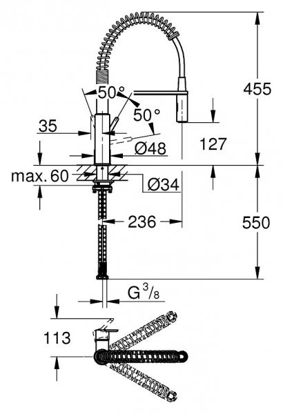 Wymiary techniczne baterii zlewozmywakowej Get 30361 000-image_Grohe_30361000_2