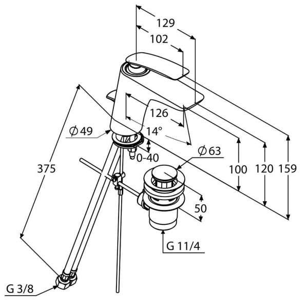 Wymiary techniczne baterii umywalkowej Kludi Balance 520230575-image_Kludi_520230575_3
