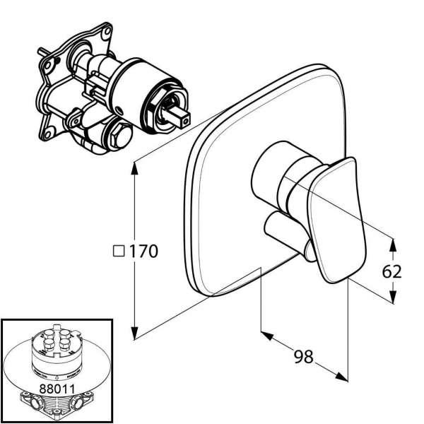 Wymiary techniczna podtynkowej baterii wannowej Kludi Ambienta 536500575-image_Kludi_536500575_3