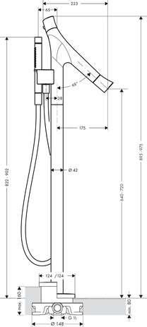 Wymiary techniczne kolumny wannowej Hansgrohe Axor Starck Organic 12016000-image_Hansgrohe_12016000_3